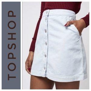 TOPSHOP Moto White Denim Mini Skirt Size 10